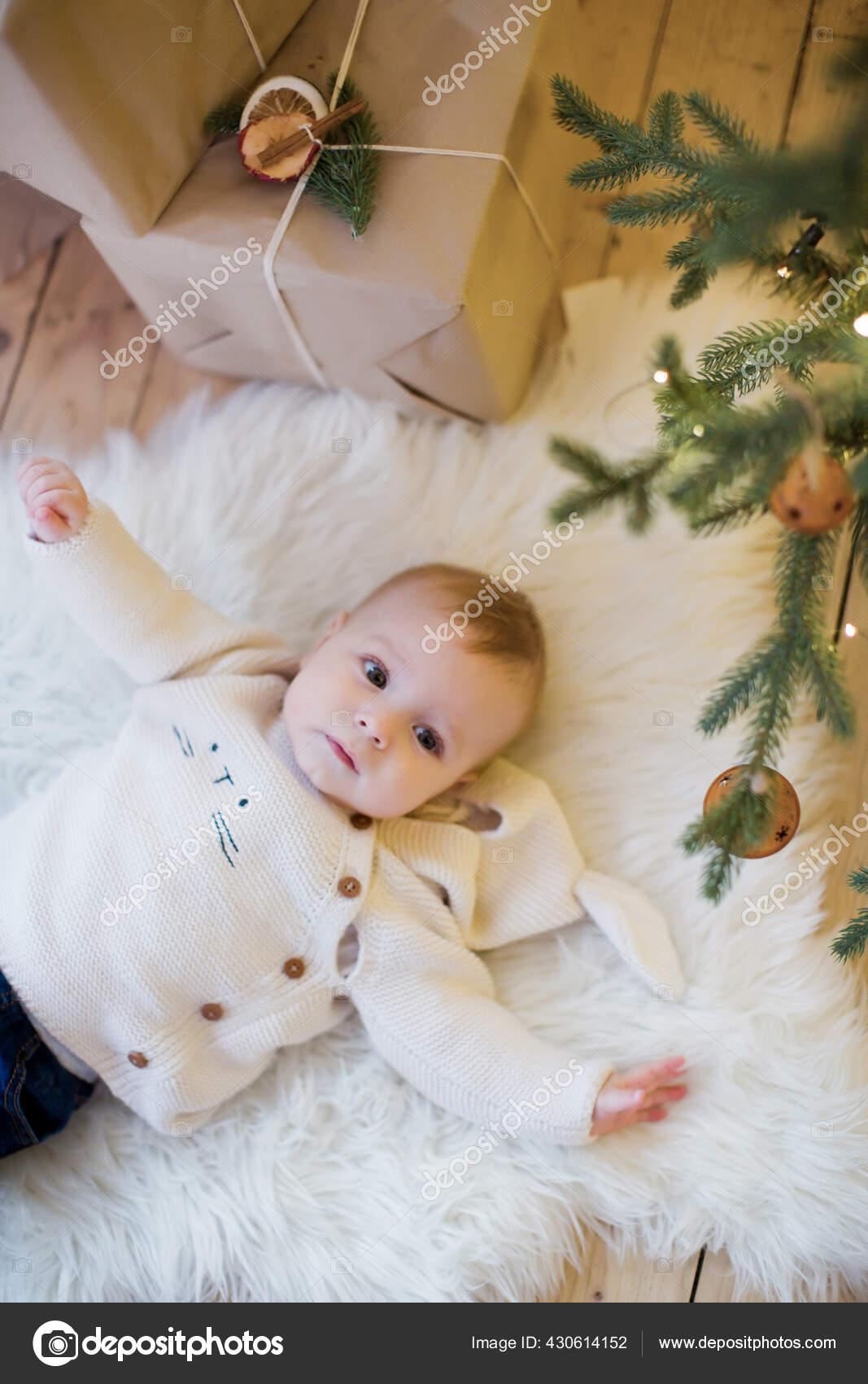 Cute Little Baby Boy Lying Christmas Tree Decorations Lights Cozy Stock Photo C Oksana Nazarchuk 430614152