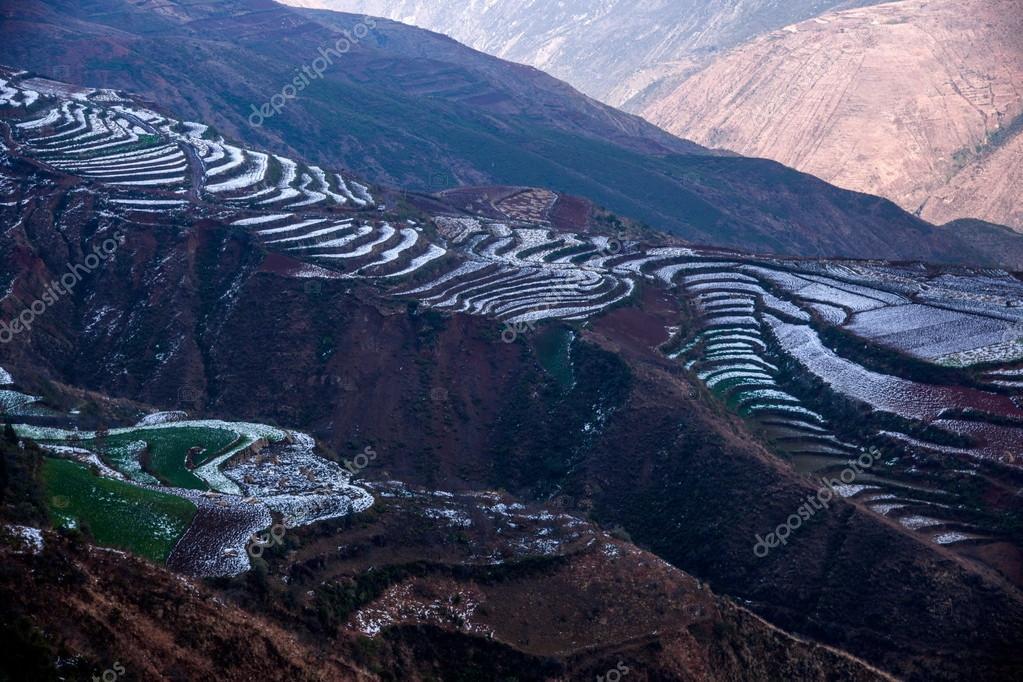 Dongchuan, Yunnan Red Land winter sunsetting ditch