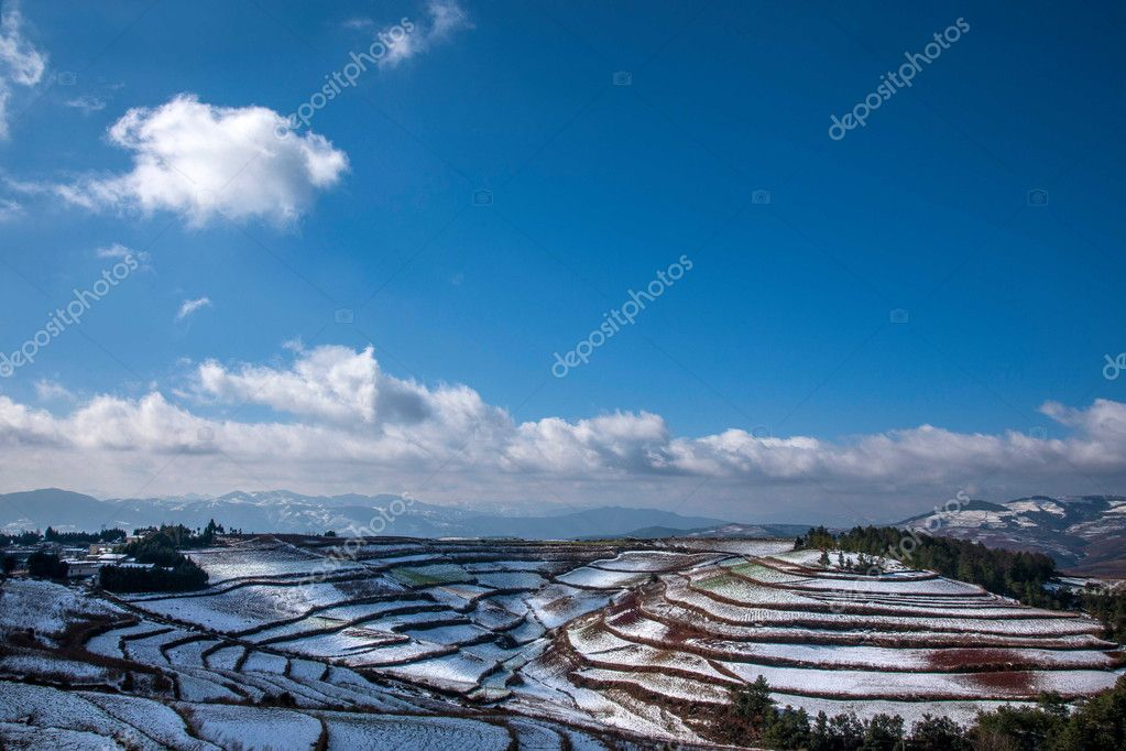Dongchuan, Yunnan Red Land snowy field in the