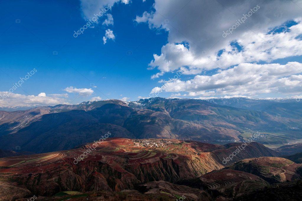 Dongchuan, Yunnan Red Land sunsetting ditch terraced