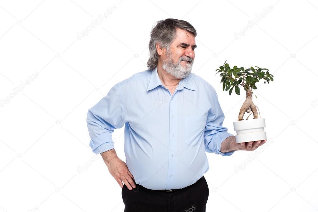 Alte Männer Mit Grauen Haaren Mit Kleiner Baum In Händen Stockfoto