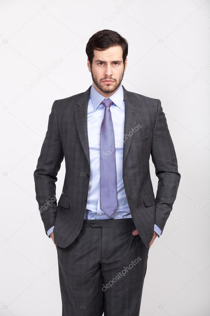 Élégant Homme Habillé Business Beau En Costume Avec Bureau Barbe Bn8P4qzU