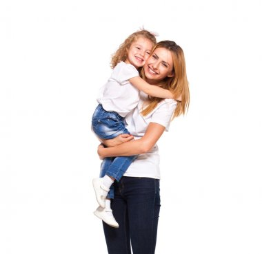 young mother and her little daughter isolated on white
