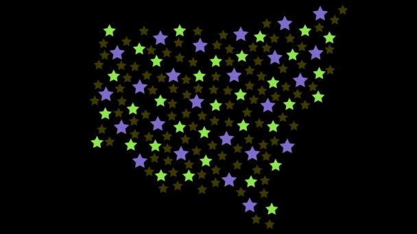 New South Wales Australian state map background with colored stars of different sizes video