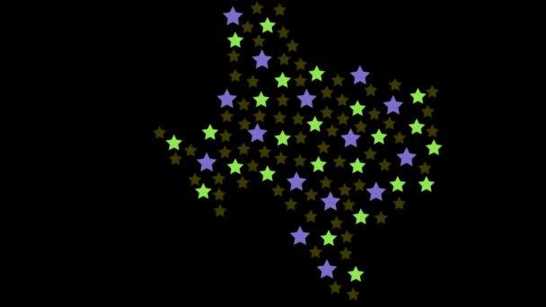 Texas amerikai állami térkép háttér színes csillagok különböző méretű videó