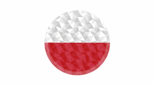 Round badge or button Poland low poly flag with lightening on the edge animated video