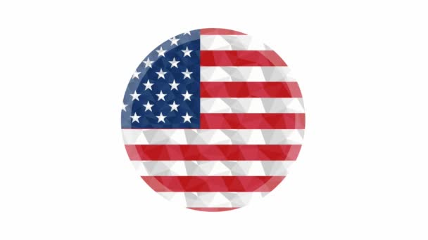 Round badge or button US low poly flag with lightening on the edge animated video