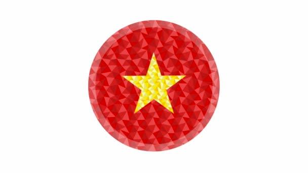 Rundes Abzeichen oder Knopf Vietnam Low-Poly-Flagge mit Blitz am Rand animiertes Video