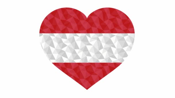 Austrian flag in form of beating heart low poly style animated video suitable as a site element