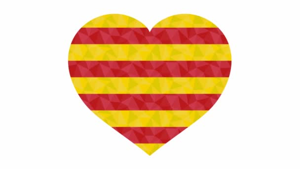 Catalan flag in form of beating heart low poly style animated video suitable as a site element