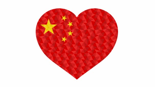 Chinese flag in form of beating heart low poly style animated video suitable as a site element