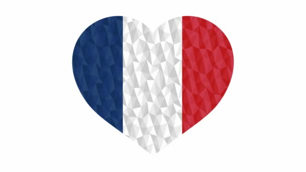 France flag in form of beating heart low poly style animated video suitable as a site element