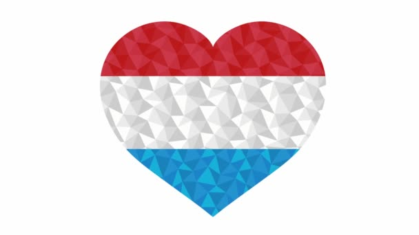 Luxembourg flag in form of beating heart low poly style animated video suitable as a site element