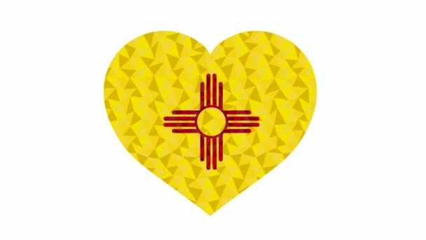New Mexico US state flag in form of beating heart low poly style animated video suitable as a site element