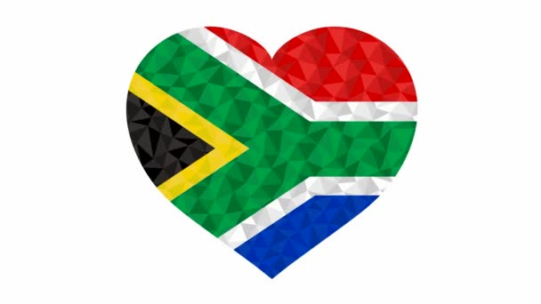 South African flag in form of beating heart low poly style animated video suitable as a site element