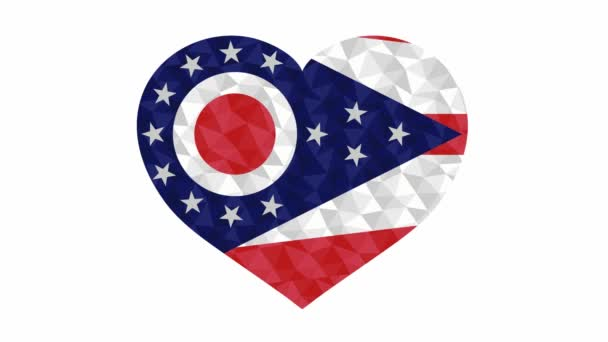 Ohio US state flag in form of beating heart low poly style animated video suitable as a site element