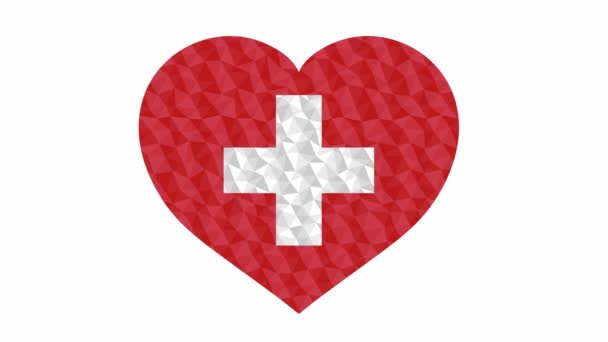 Swiss state flag in form of beating heart low poly style animated video suitable as a site