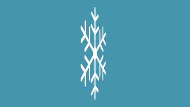 egy fehér hópihe forog 3D-ben egy kék háttér animációs videó karácsonyi design