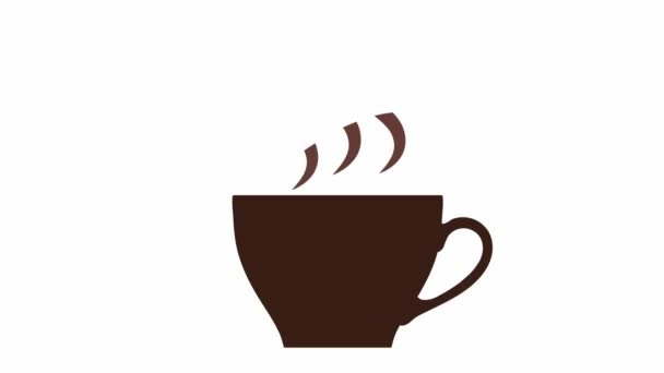 Brown coffee cup with steam simple 2D animated video from flat icon