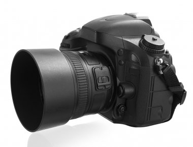 Black digital camera isolated on white background with clipping
