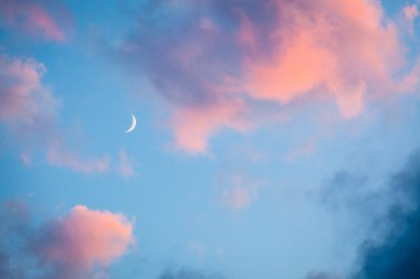 Pink clouds and moon heaven