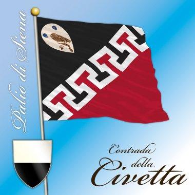 SIENA - ITALY - JULY 2016 - Palio of Siena, flag of the Civetta contrada, Tuscany