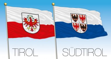 Tirol and sudtirol flags, Austria and Italy