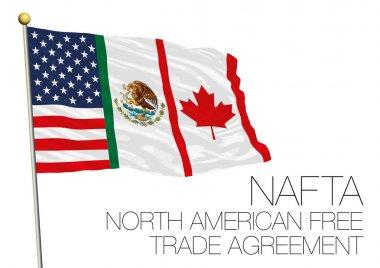 NAFTA, North American Free Trade Agreement flag