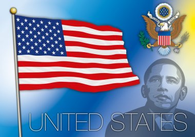 united states of america flag with barack obama portrait