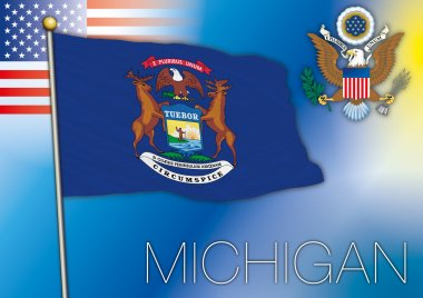 michigan flag, us state