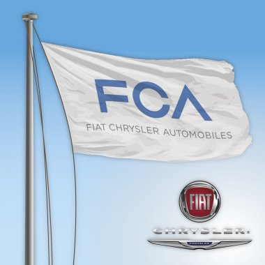 ITALY - 2015: New logo FCA italian and american cars industry, flag design graphic elaboration