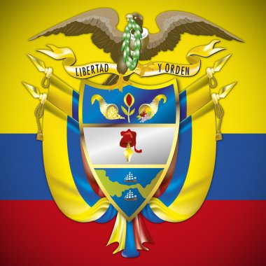 colombia coat of arm and flag