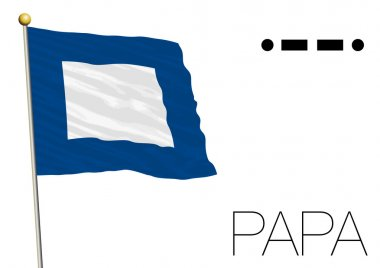 Papa flag, International maritime signal and morse code symbol
