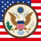 Fotografie Wappen und Flagge der Vereinigten Staaten