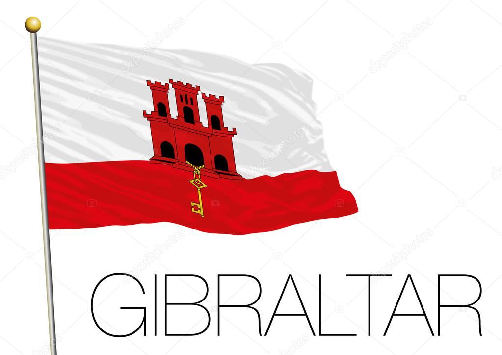 Bandiera Di Gibilterra Isolato Su Sfondo Bianco Vettoriali Stock