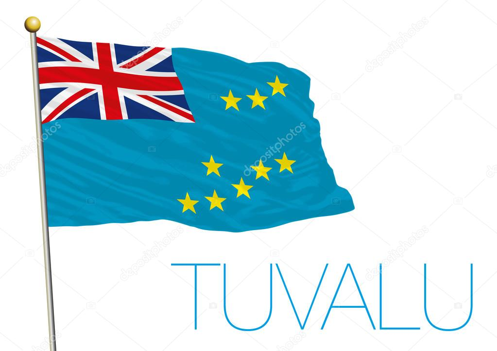 Tuvalu flag isolated in the wind