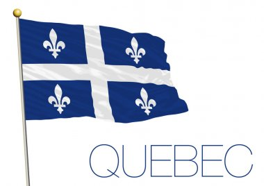 quebec flag, canada, isolated on the white background