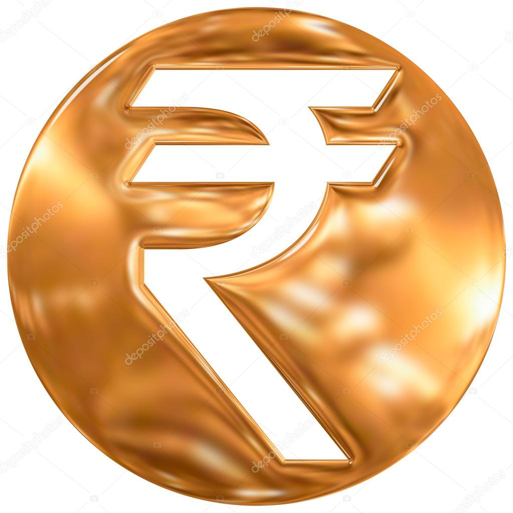 Indian Rupee Currency Symbol India Gold Finishing Stock Photo