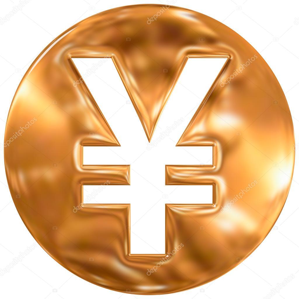 Japanese Yen Currency Symbol Japan Gold Finishing Stock Photo