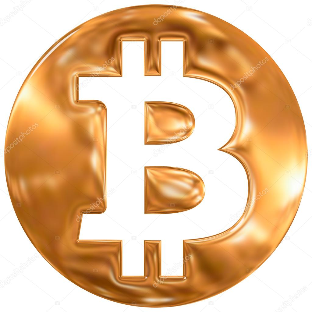 Bitcoin Virtual Currency Symbol Gold Finishing Stock Editorial