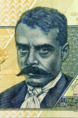 MEXICO - APPROXIMATELY 1992: Emiliano Zapata on 10 Pesos 1992 Banknote from Mexico