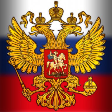 russia coat of arms and flag, metallic finishing