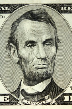 UNITED STATES OF AMERICA - APPROXIMATELY 1999: Abraham Lincoln portrait on 5 Dollars 1999 Banknote from USA