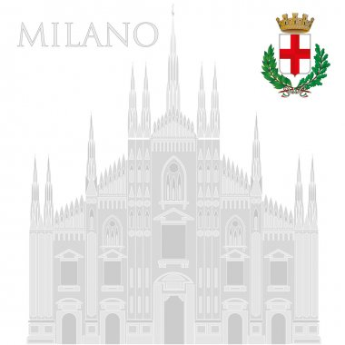 milan cathedral and city coat of arms