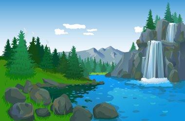 Beautiful Landscape With Waterfall