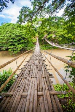 Hinged bridge over the River Loboc in Bohol, Philippines