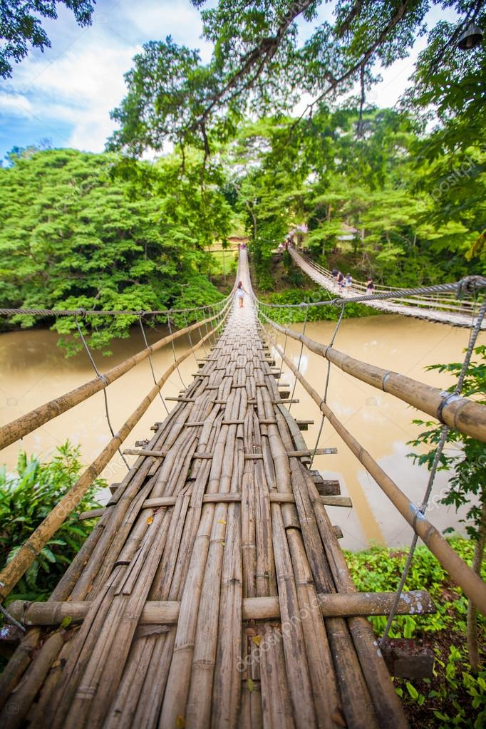 Hinged bridge over the River Loboc in Bohol, Philippines