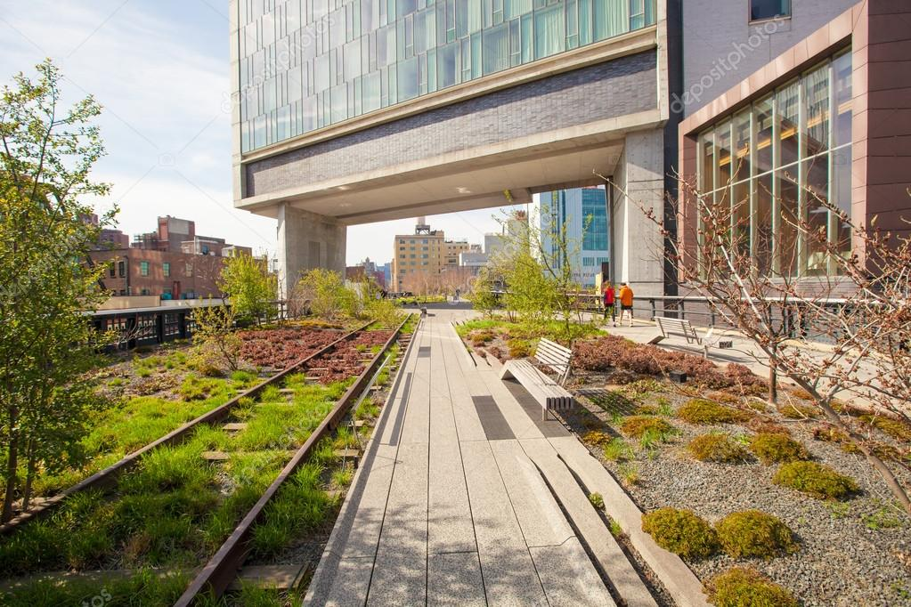 The High Line popular linear park built on the elevated train tracks
