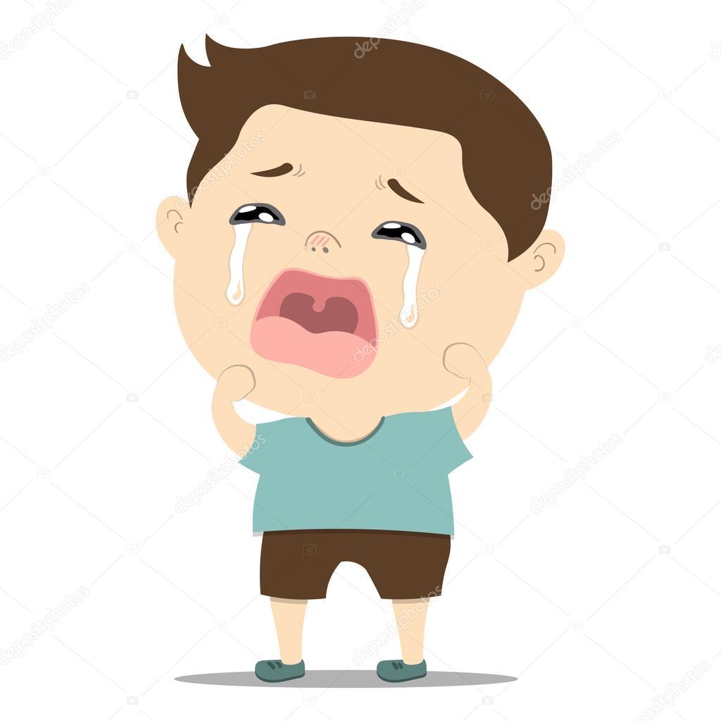 슬픈 작은 귀여운 아기 울음 — 스톡 벡터 © Nooboonyen #95326982
