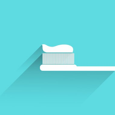 Toothbrush and paste icon with long shadow
